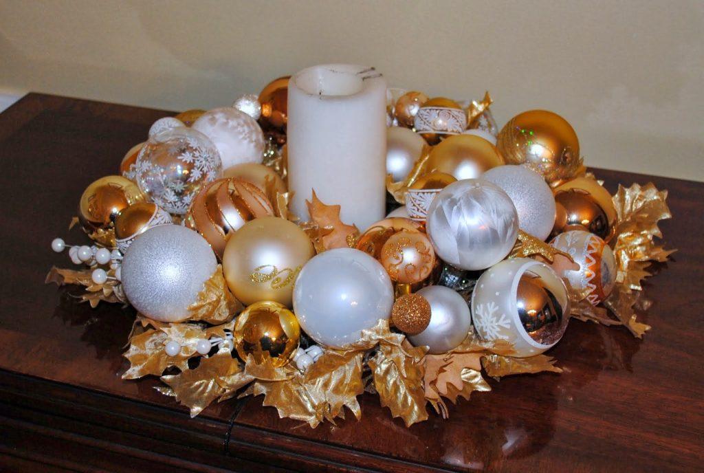 centerpiece bowl christmas ornaments